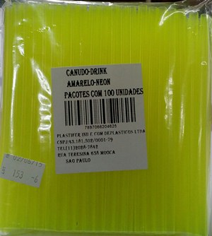 Canudo Drink Neon Amarelo 25X100